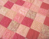Pink Patchwork Quilt or Wallhanging OOAK