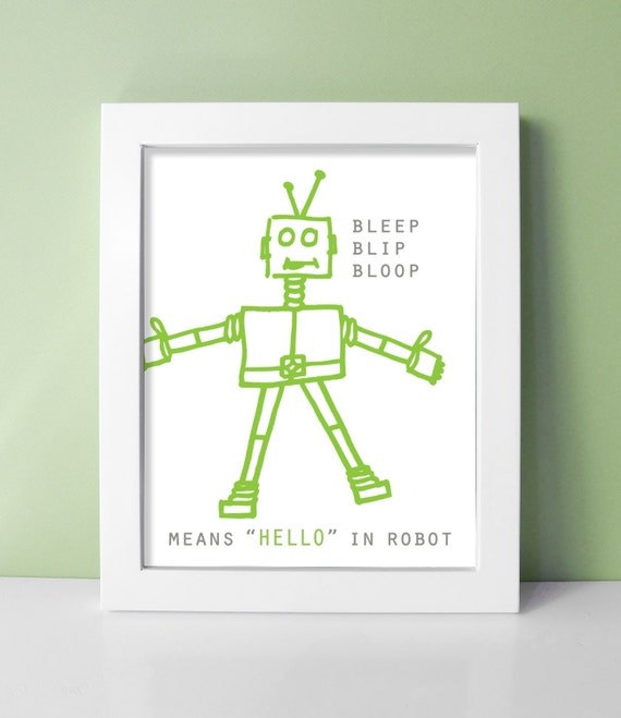 Robot nursery print baby boy robot decor robot art 8x10 for Robot baby room decor
