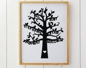 Custom Family Tree Paper Cut - Typography Personalised Artwork papercut - Cut Bird Brach Leaf - Wall Art