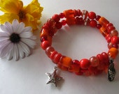 Bracelet, red, orange, glass beads, flip flop, star, charms, memory wire, spiral, teenagers, girls, bright