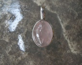 Sterling Silver Handmade Stone Pendant Necklace  Pink Rose Quartz-Unique & Beautiful Statement Piece