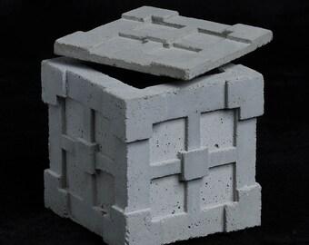 Cement Jewelry Box, Textile Block #2