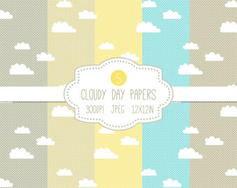 Clouds Paper Pack // Cloudy Day // Blue Sky Paper // Blue Yellow Gray Grey // Printable Paper // Instant Download // 12x12