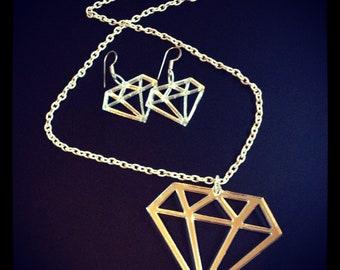Acrylic Diamond Jewellery Set - Necklace & Earrings