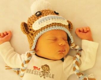 PDF Crochet Sock Monkey Pattern. Newborn - Adult Sizes. INSTANT DOWNLOAD