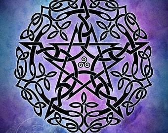 Blue Myst Celtic Pentacle -  Pagan Wiccan Print - Brigid Ashwood