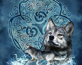 Winter Wolf Celtic Wolf Triskele -  Pagan Wiccan Print - Brigid Ashwood