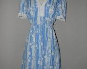 vintage blue white 70's dress WHOLESALE