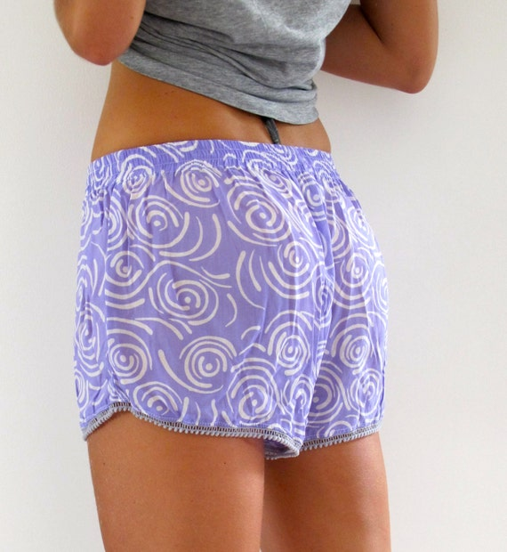 Cute Patterned Pom Pom Shorts Loose Fit Purple
