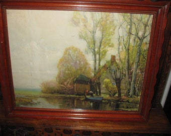"""1930S WOOD FRAME With Vintage Print 21"""" X 16 1/2"""" Scalloped Edge On Frame"""