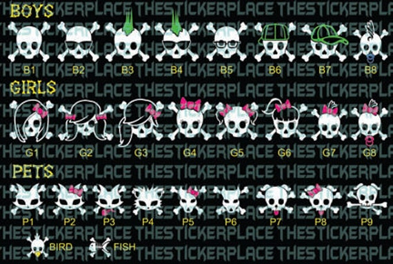 Character Skull Family With Color Hair And Bows Vinyl - Window stickers for cars family
