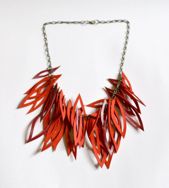 red leather statement necklace.
