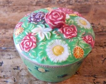 Rosebud ceramic container with lid.