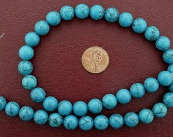 10mm round gems synthetic turquoise beads
