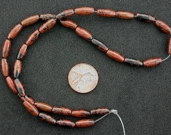 12x5 melon mahogany obsidian gemstone beads 15inch strand