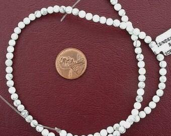 4mm round gemstone white howlite beads