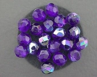 20 cobalt blue  ab czech fire crystal faceted beads 6mm