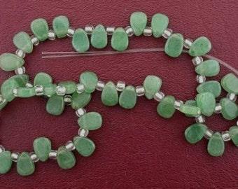 flat pear gem green aventurine beads