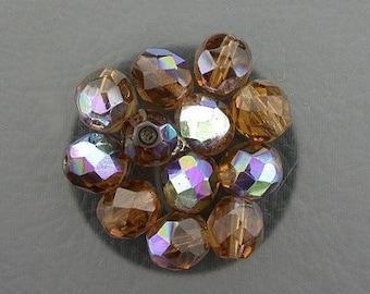 12  smoky topaz  ab czech fire crystal beads 8mm