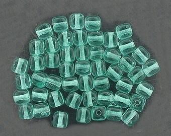 36 teal czech glass cube beads 4mm