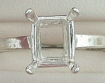 sterling silver 7x5 octagon ring mounting size 6