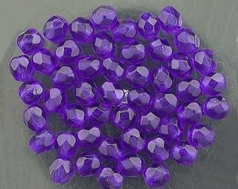 30  cobalt blue  czech fire crystal beads 4mm