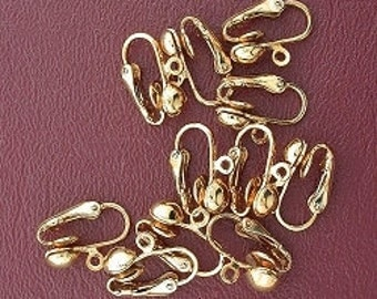 ten 6.5mm ball goldplated  clip on earrings with loop finding