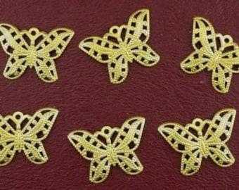 six ornate 22x15 brass butterfly filigree findings