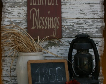 Harvest Blessings Fall Primitive Smokehouse Stenciled Sign Decor