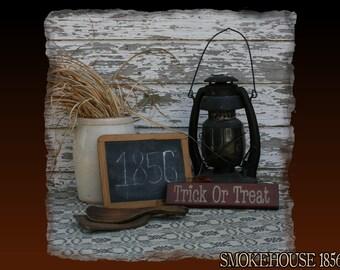 Trick or Treat Mini Halloween Fall Primitive Smokehouse Stenciled Sign Decor