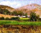 Central Coast Farm - Art - Original Landscape - Miniature Painting on Stone Tile - Small Works
