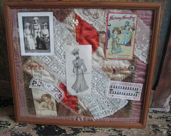 Victorian collage made from photos, vintage fabric and postcards