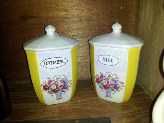 vintage deco ceramic kitchen canisters by stuffinthetrunk