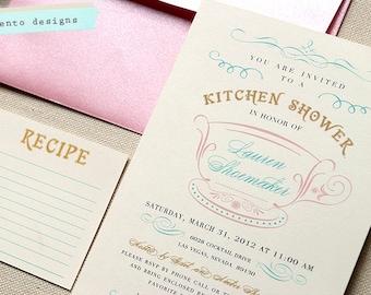 Kitchen Shower Invitation and Recipe Card DIY PRINTABLE