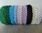 """ONE crochet 1"""" stretchy headband (choice of color) Newborn-Toddler size"""