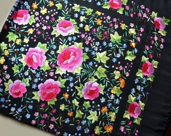Antique/Vintage hand embroidered spanish silk flamenco piano shawl