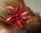 Holiday Colors -SALE- Glitter Flower Hair Clip (now comes in five colors)