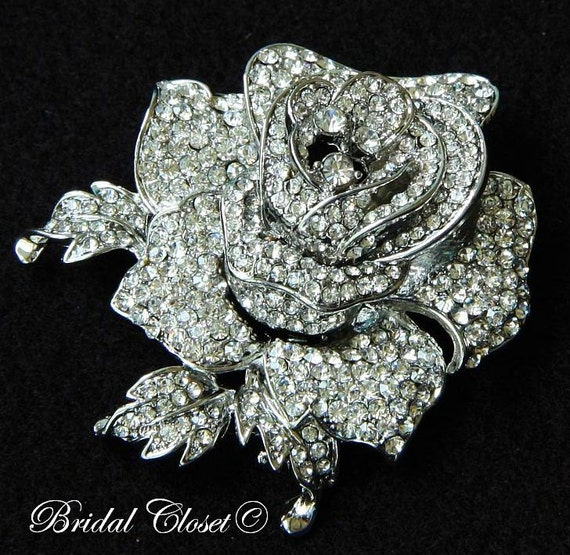 bridal brooch swarovski crystal flower brooch by bridalcloset