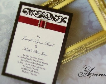 Sample - Red and Black, Rhinestone Buckle Invitation