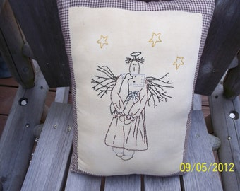 Angel Handstitched & Handmade Rustic Primitive Angel Pillow