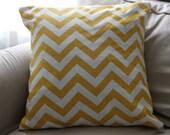 Yellow and White zigzag ( Chevron) Pillow Cover