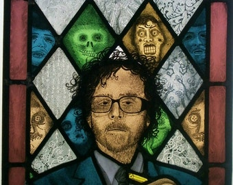 Tim Burton stained glass panel