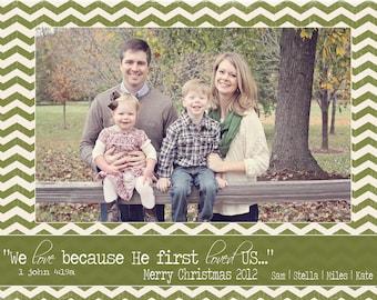 Chevron First Loved us Custom Christmas Photo Card