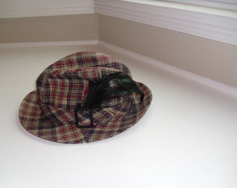 Vintage Men's Plaid Hat - 1950's / 1960's