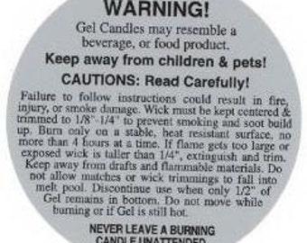 Gel Candle Warning Label - 10 Pack