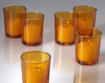 Amber Votive Candle Holders