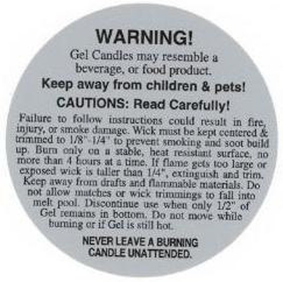 Items Similar To Gel Candle Warning Label