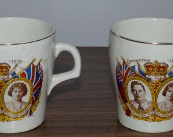 Charming King George VI & Queen Elizabeth Coronation Cups x 2 - 1937