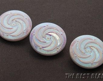6 pieces Vintage Handmade Czech Glass Button with AB decoration Art.vb1853-10
