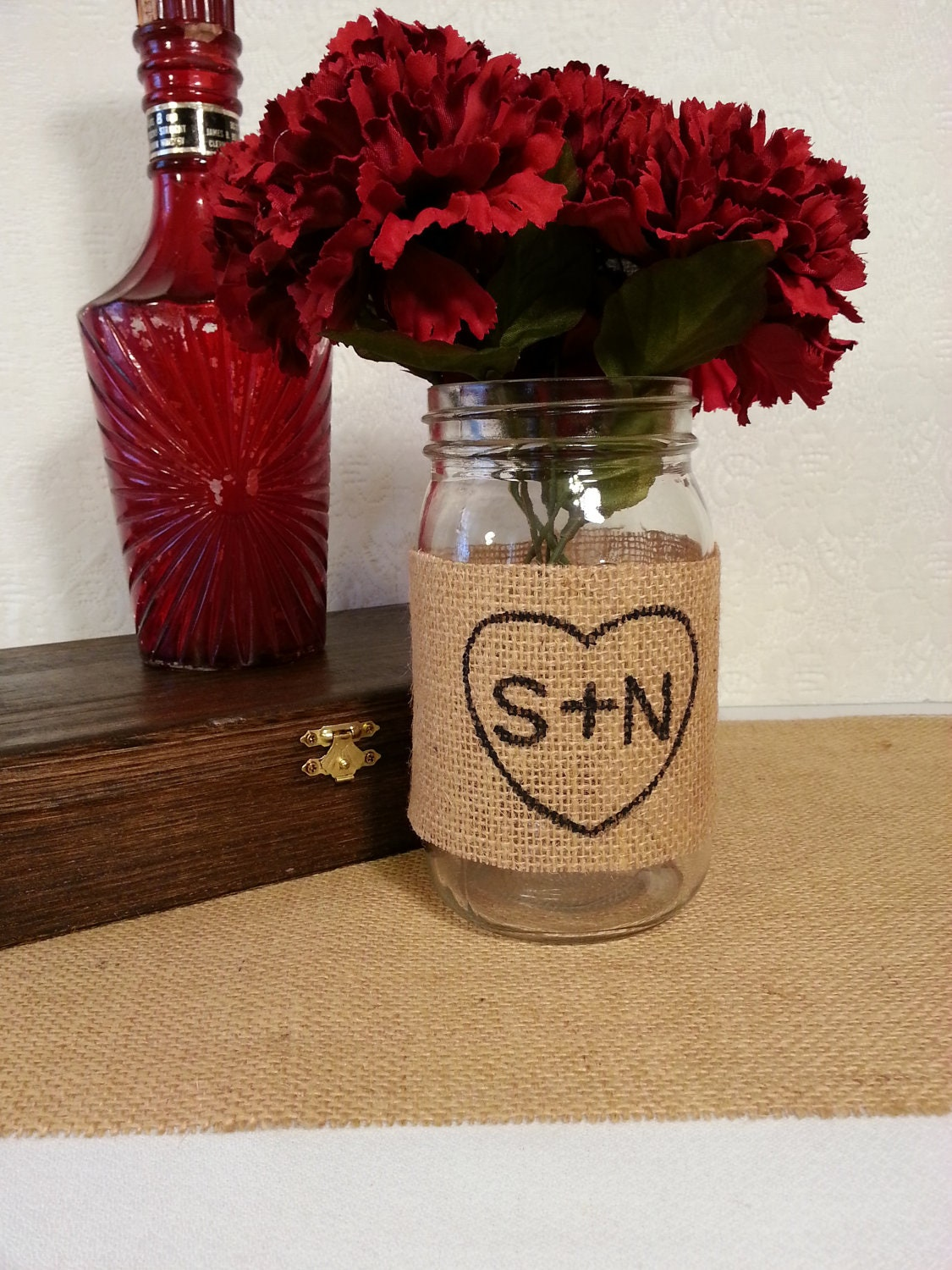 Burlap Mason Jar Centerpiece Rustic Wedding Decor
